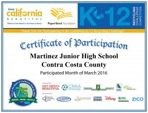 Martinez Jr. High School 2016 Cert.
